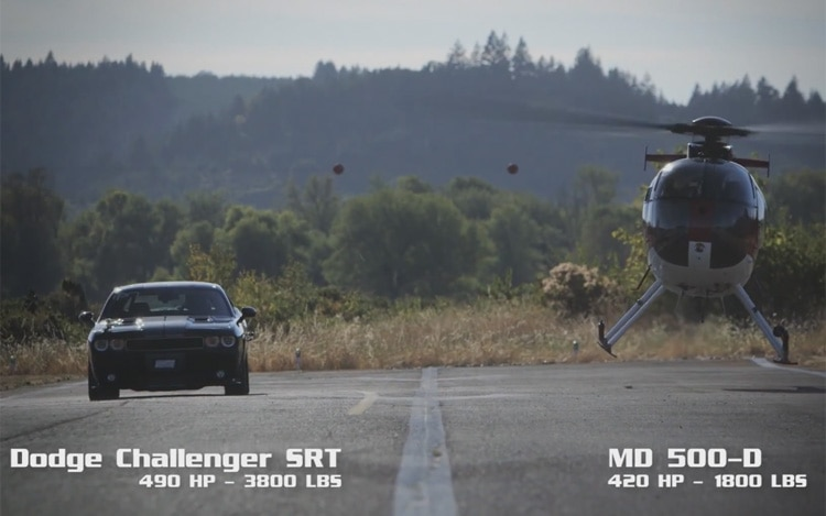 Dodge Challenger Vs Helicopter 1