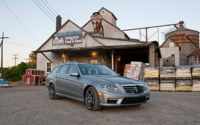 2012 Mercedes Benz E63 AMG Wagon Front Three Quarters View1 660x413