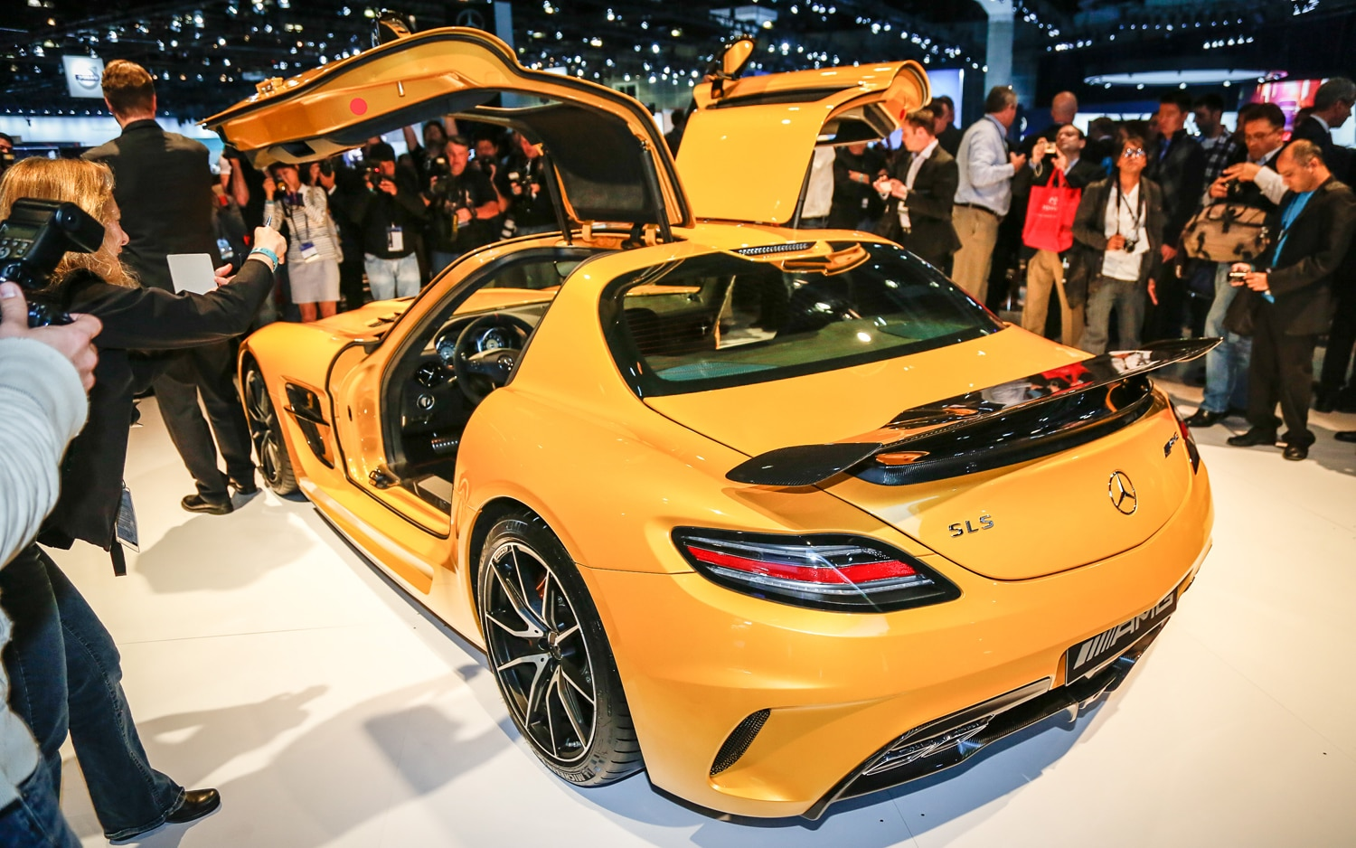 2014 Mercedes Benz SLS AMG Black Series Rear Three Quarters2