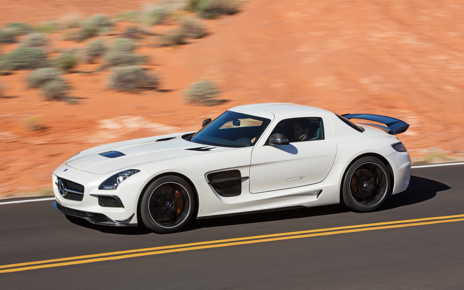 2014 Mercedes Benz SLS AMG Black Series Side In Motion1