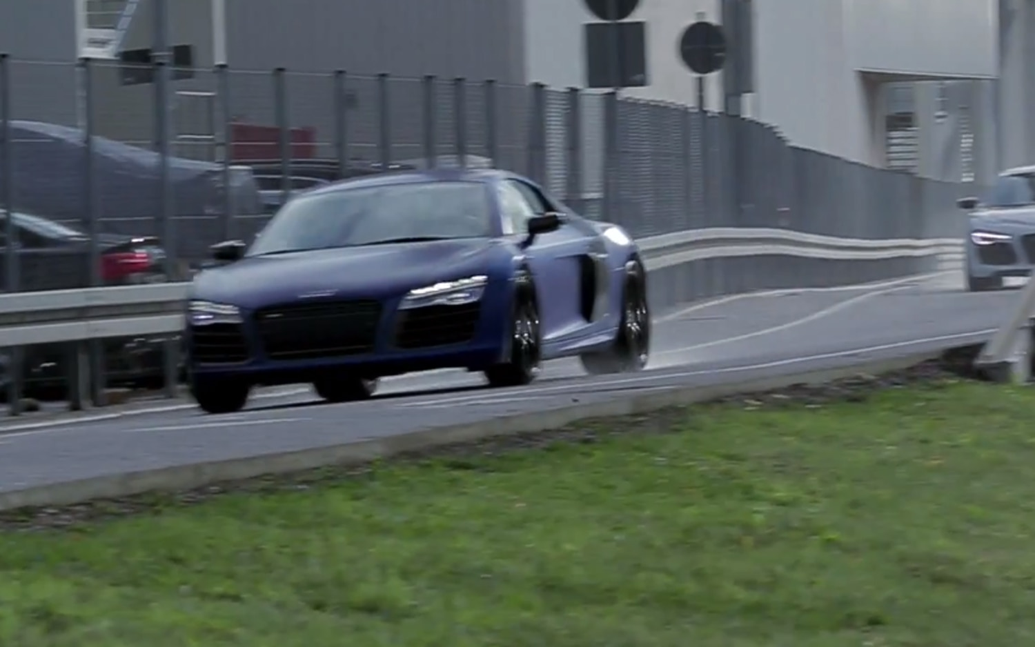 Audi R8 Supercar On Test Drive Outside Of Quattro GmbH Facility1