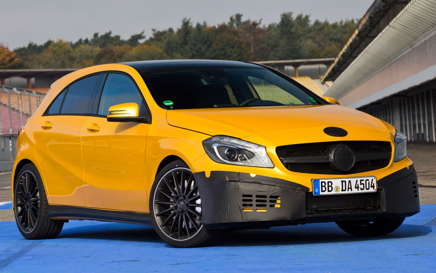 Mercedes Benz A45 AMG Yellow Test Mule Front Three Quarter1