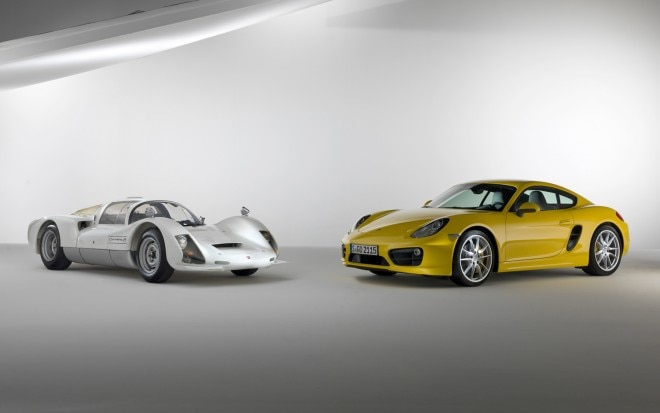 1966 Porsche Carrera 6 And Porsche Cayman S Coupe Front View1 660x413