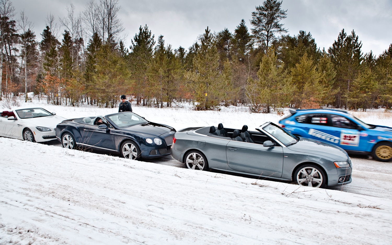 2012 BMW 650i XDrive 2013 Bentley Continental GTC And 2012 Audi A5 Quatrro Parked Side View1