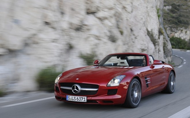 2012 Mercedes Benz SLS AMG Roadster Front Three Quarters In Motion1 660x413