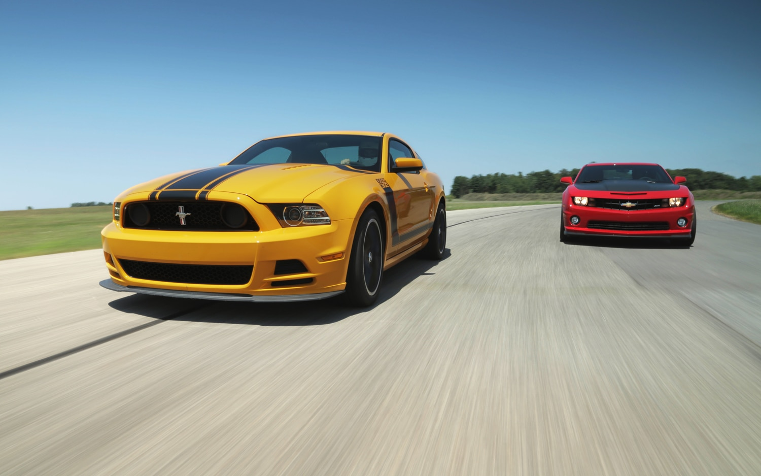 2013 Ford Mustang Boss 302 Vs 2013 Chevrolet Camaro SS 1LE Front View 31