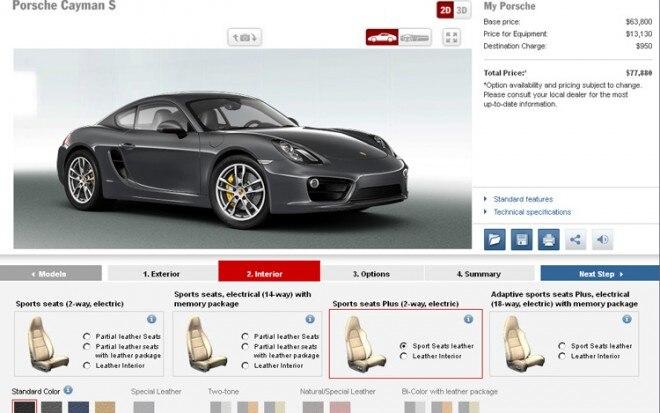 2013 Porsche Cayman S Online Configuration Tool1 660x413