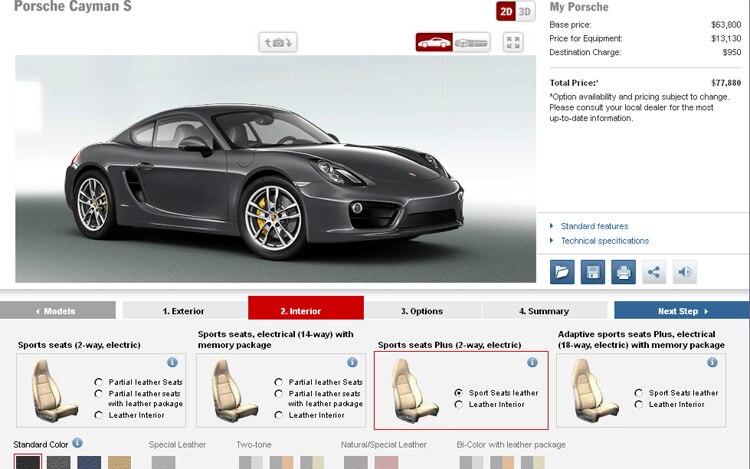 2013 Porsche Cayman S Online Configuration Tool1