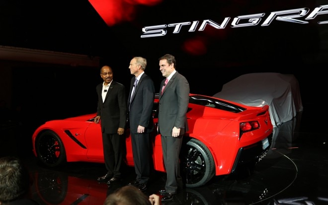 2014 Chevrolet Corvette Live Reveal GM Execs With Car11 660x413