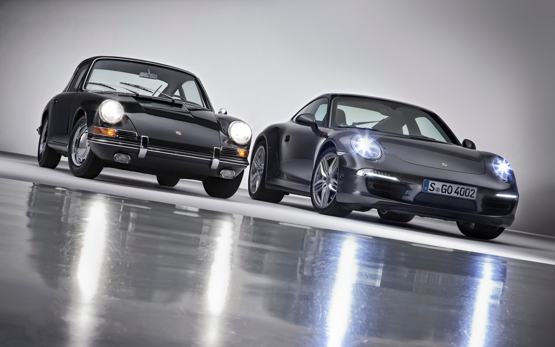 1963 Porsche 911 And 2013 Porsche 911 Front Lights On1