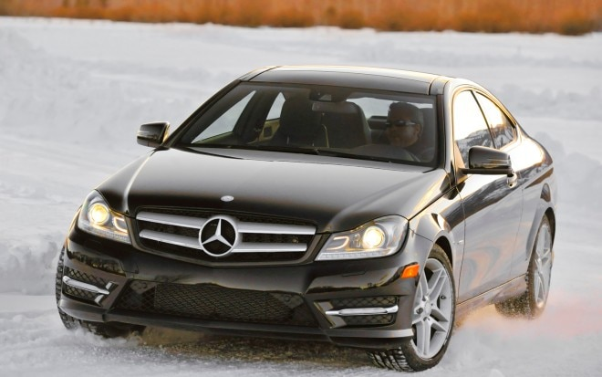 2012 Mercedes Benz C350 Coupe Front Three Quarter Snow1 660x413