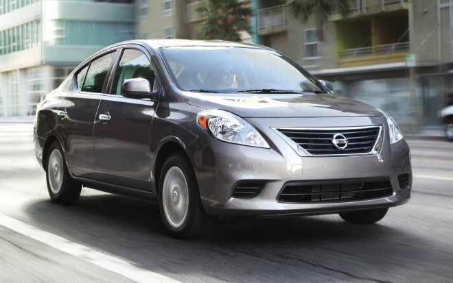 2012 Nissan Versa SV Sedan Front Three Quarter 660x413