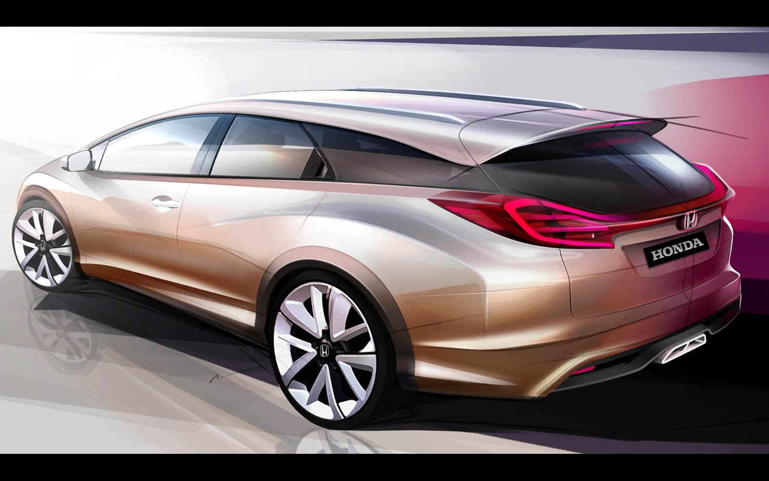 2013 Honda Civic Wagon Concept Rendering Rear Three Quarter1