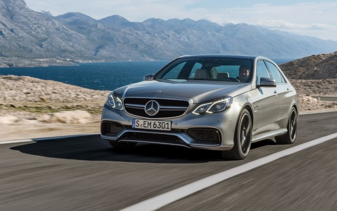 2014 Mercedes Benz E63 AMG 4MATIC Front Three Quarters In Motion1 660x413