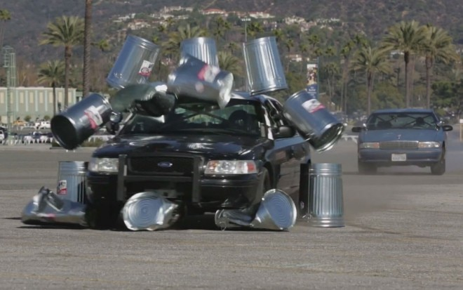 Ford Crown Victoria P71 Cop Car Plowing Through Trash Cans1 660x413