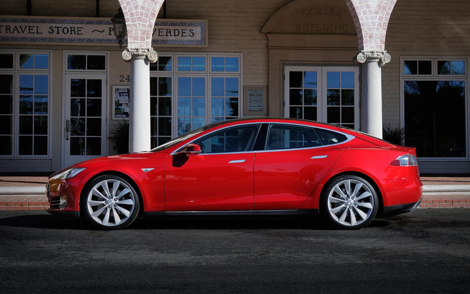 Tesla Model S Profile Red