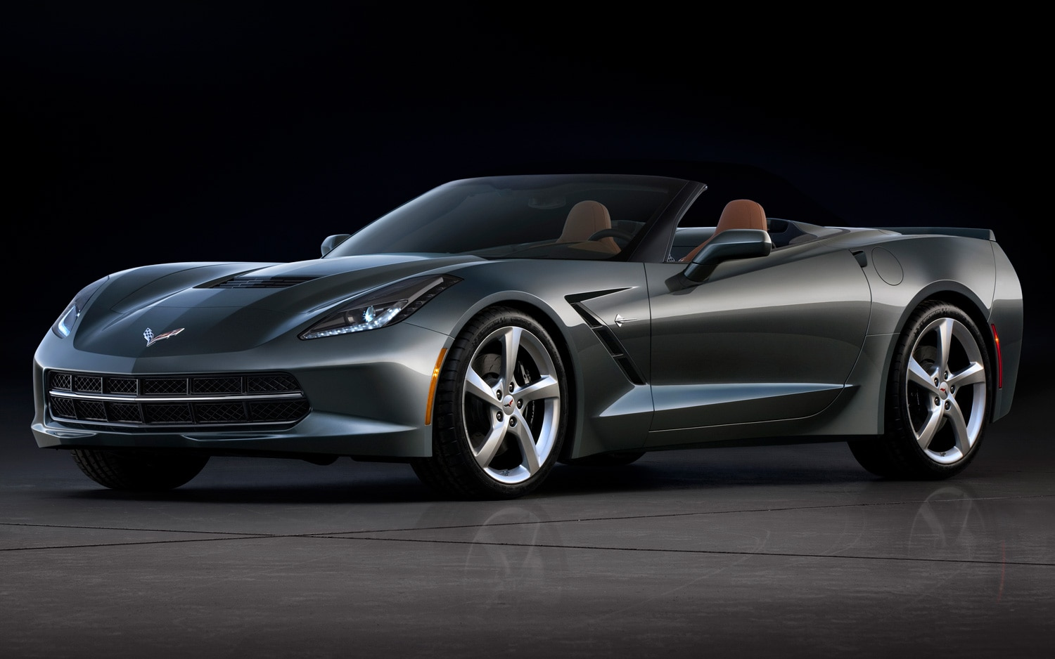 2014 Chevrolet Corvette Stingray Convertible Front Three Quarters View Top Down1