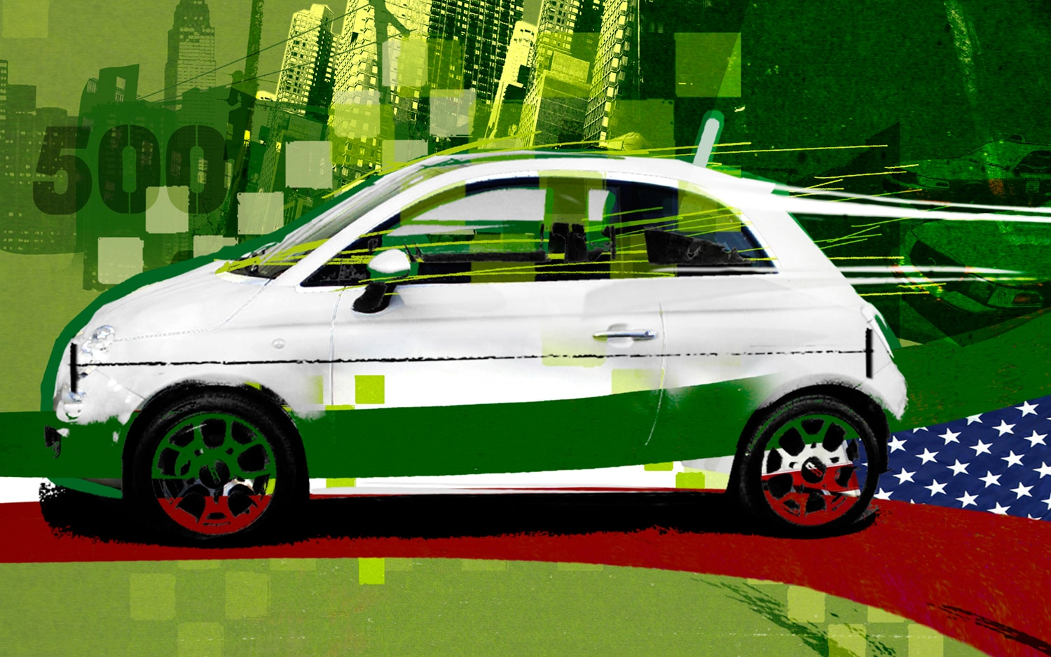 Fiat 500 Illustration Cropped