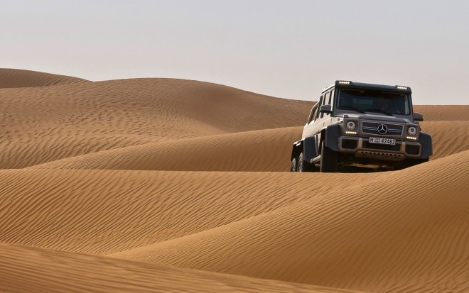 Mercedes Benz G63 AMG 6x6 Silver Front View On Hill1 660x413