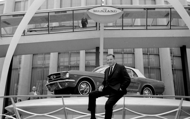 1964 Ford Mustang At Worlds Fair With Henry Ford II1 660x413