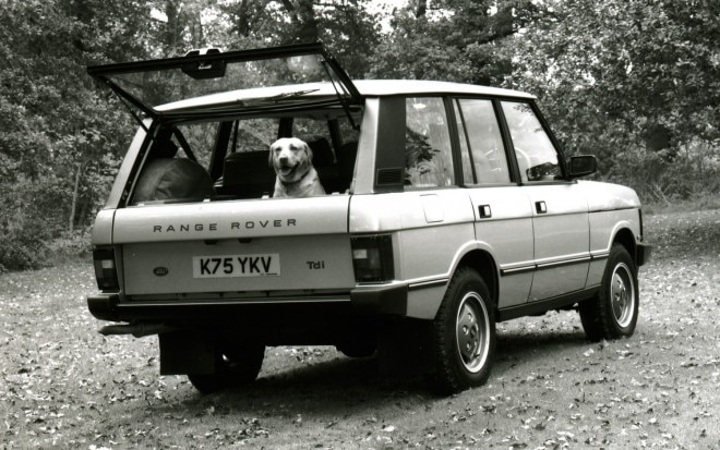 1989 Range Rover Classic rear three quarters view with dog