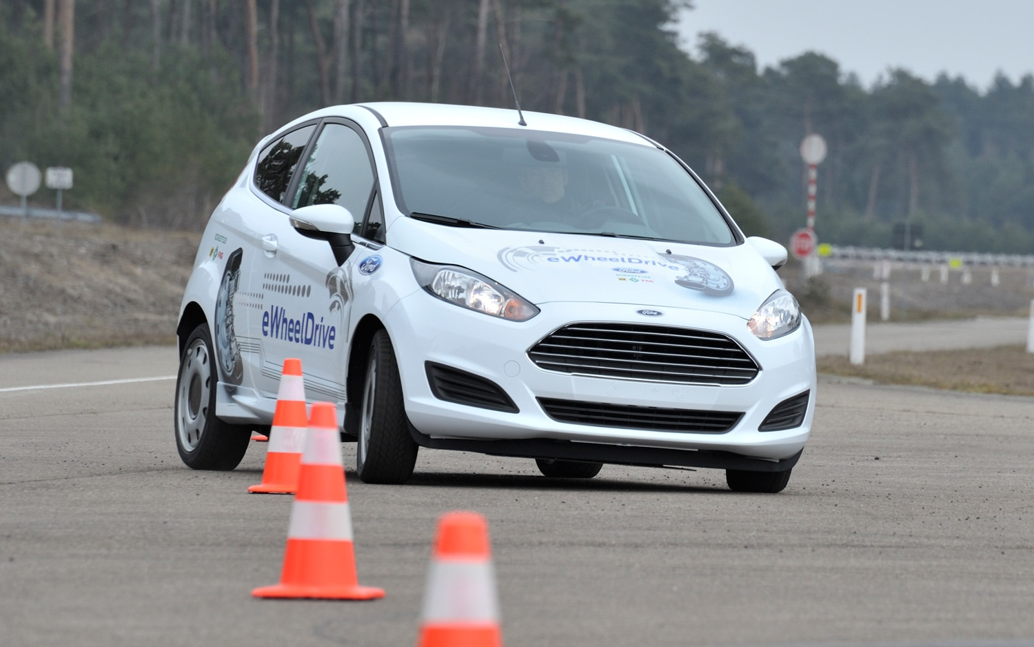 Ford Fiesta EWheelDrive EV Prototype In Slalom Course1