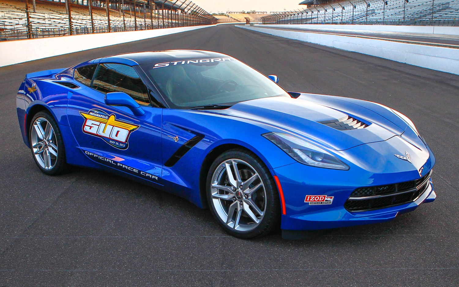 2014 Chevrolet Corvette Indy 500 Pace Car Front Three Quarters View On Track1