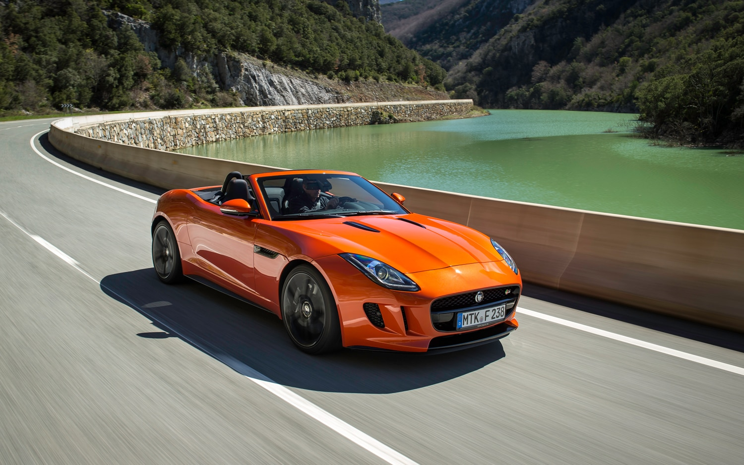 2014 Jaguar F Type S V 8 Front Three Quarter In Motion1