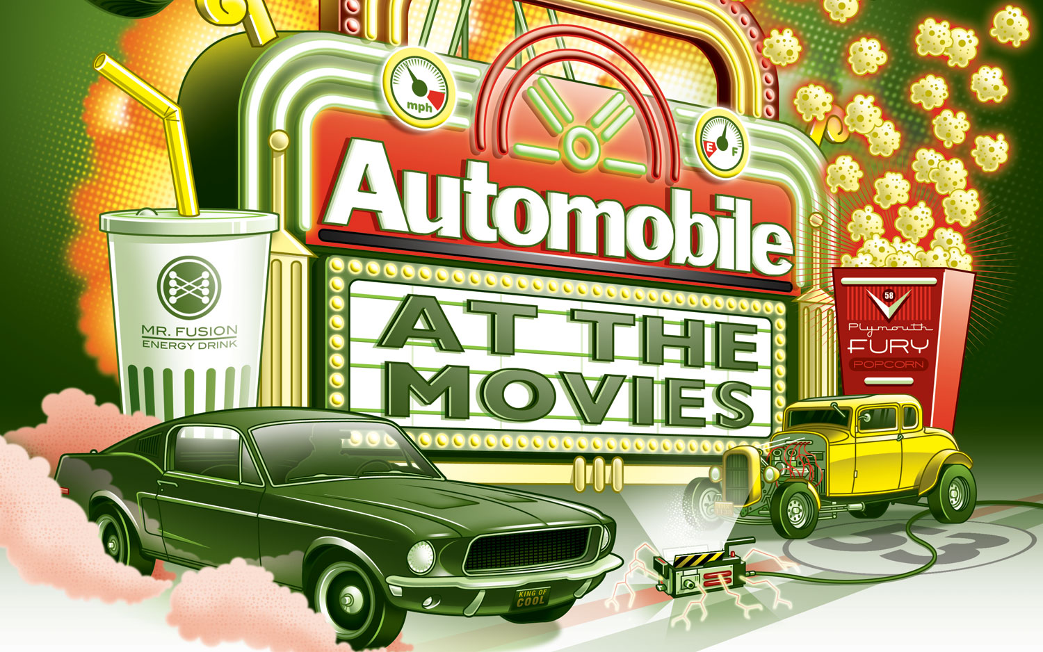 Automobile At The Movies Illustration Cropped