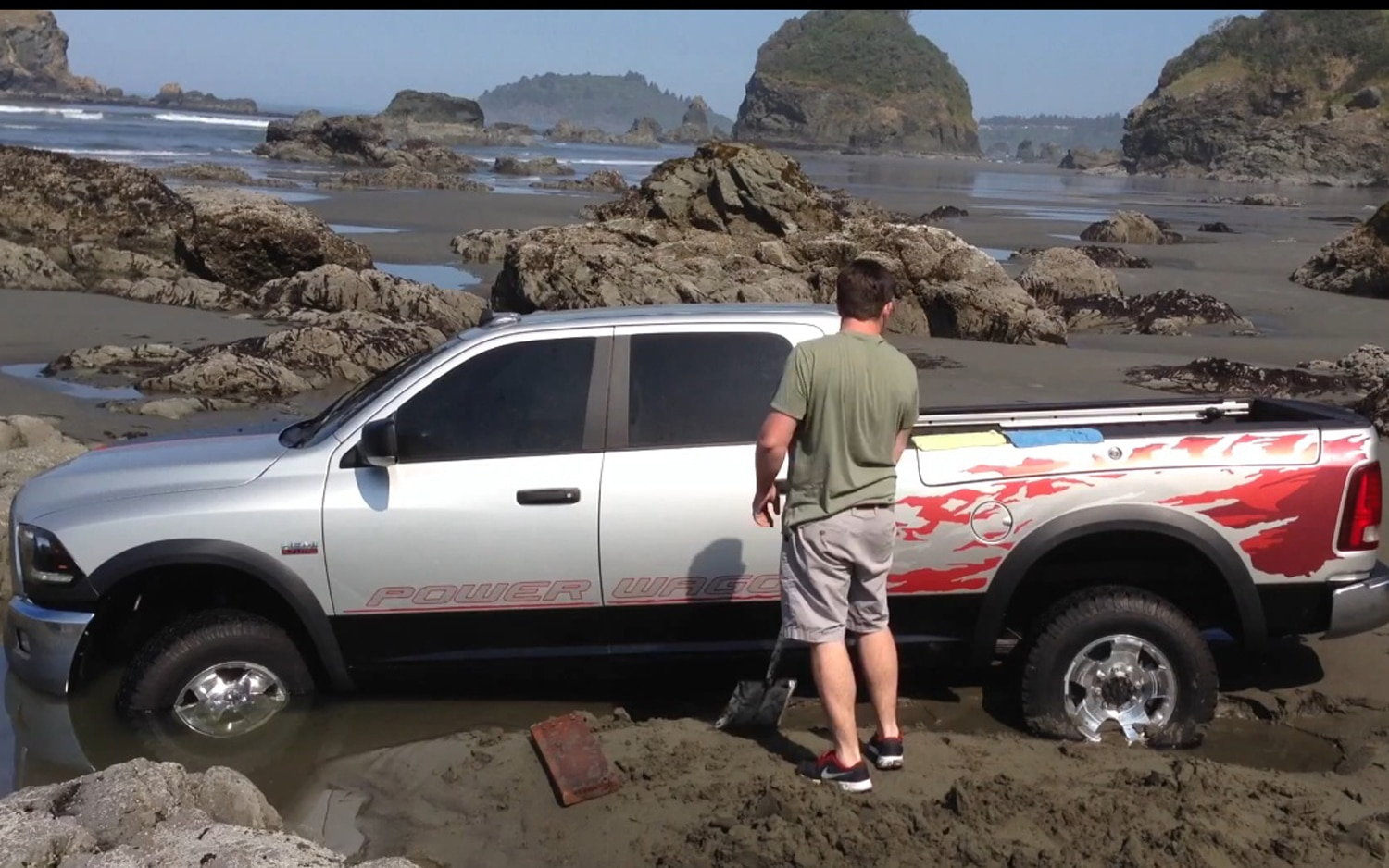 Ram Power Wagon Gets Stranded In Ocean