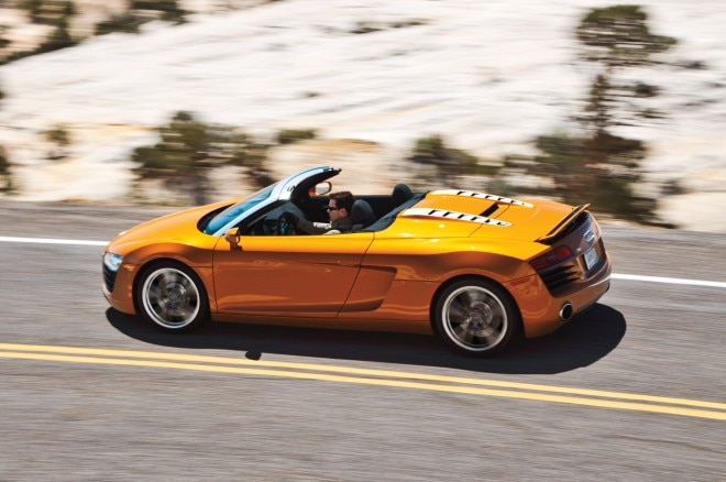 2014 Audi R8 V8 Spyder Side View In Motion1 660x438