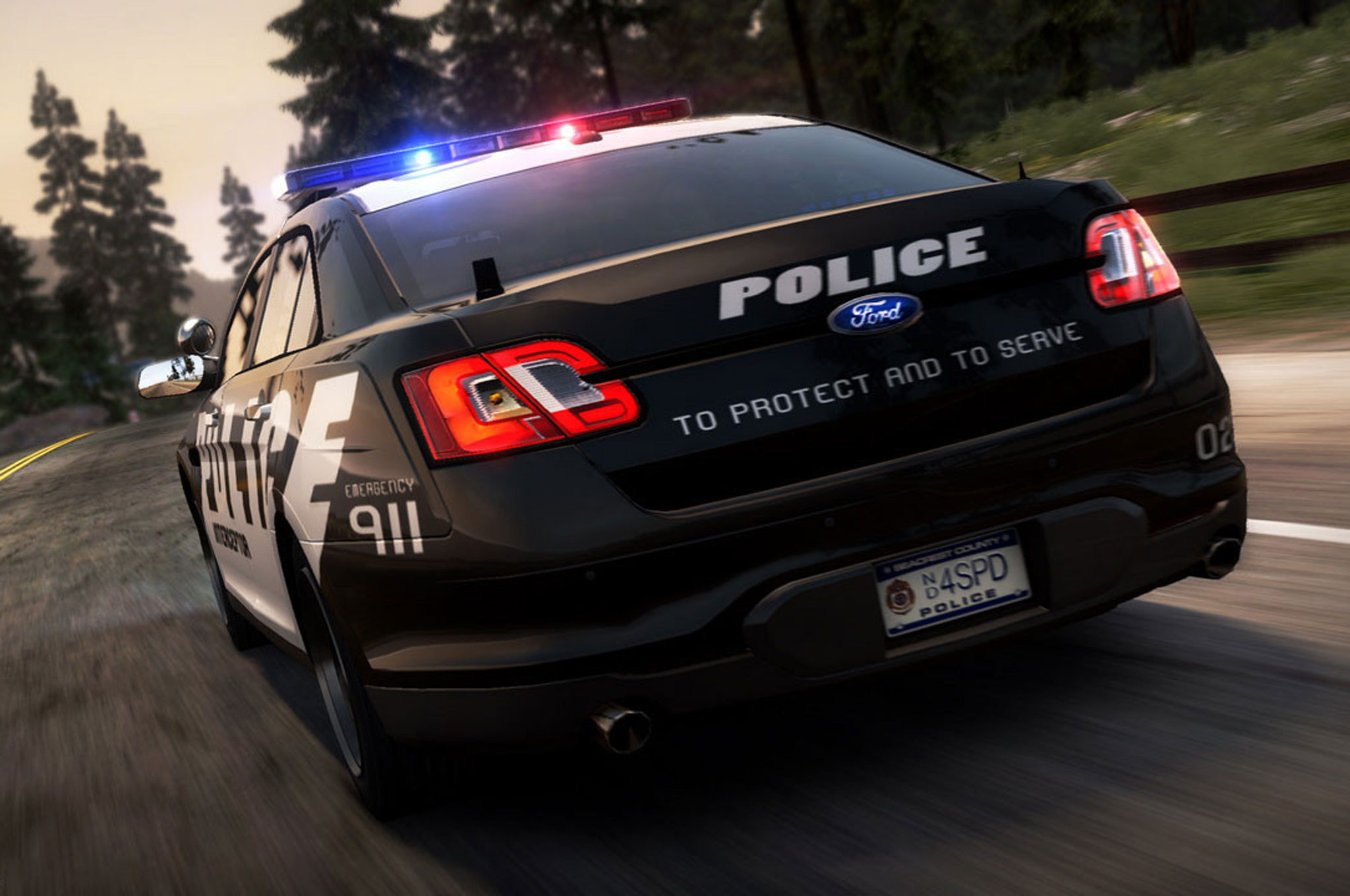 2014 Ford Police Interceptor Sedan Rear Driving1