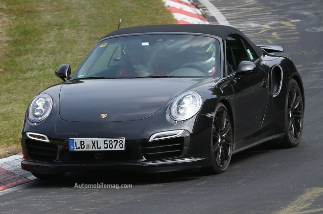 2014 Porsche 911 Turbo Cabriolet Spy Shot Front View1 660x438
