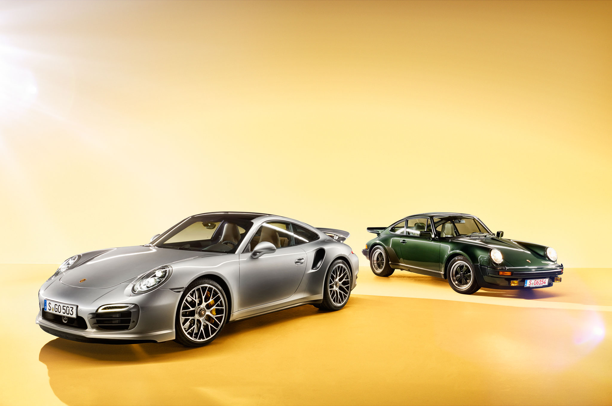2014 Porsche 911 Turbo And 1973 Porsche 911 Turbo Front View1