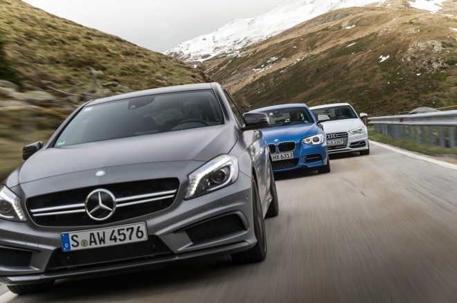 Audi A3 Vs BMW M135i Vs Mercedes Benz A45 AMG Front View1 660x438