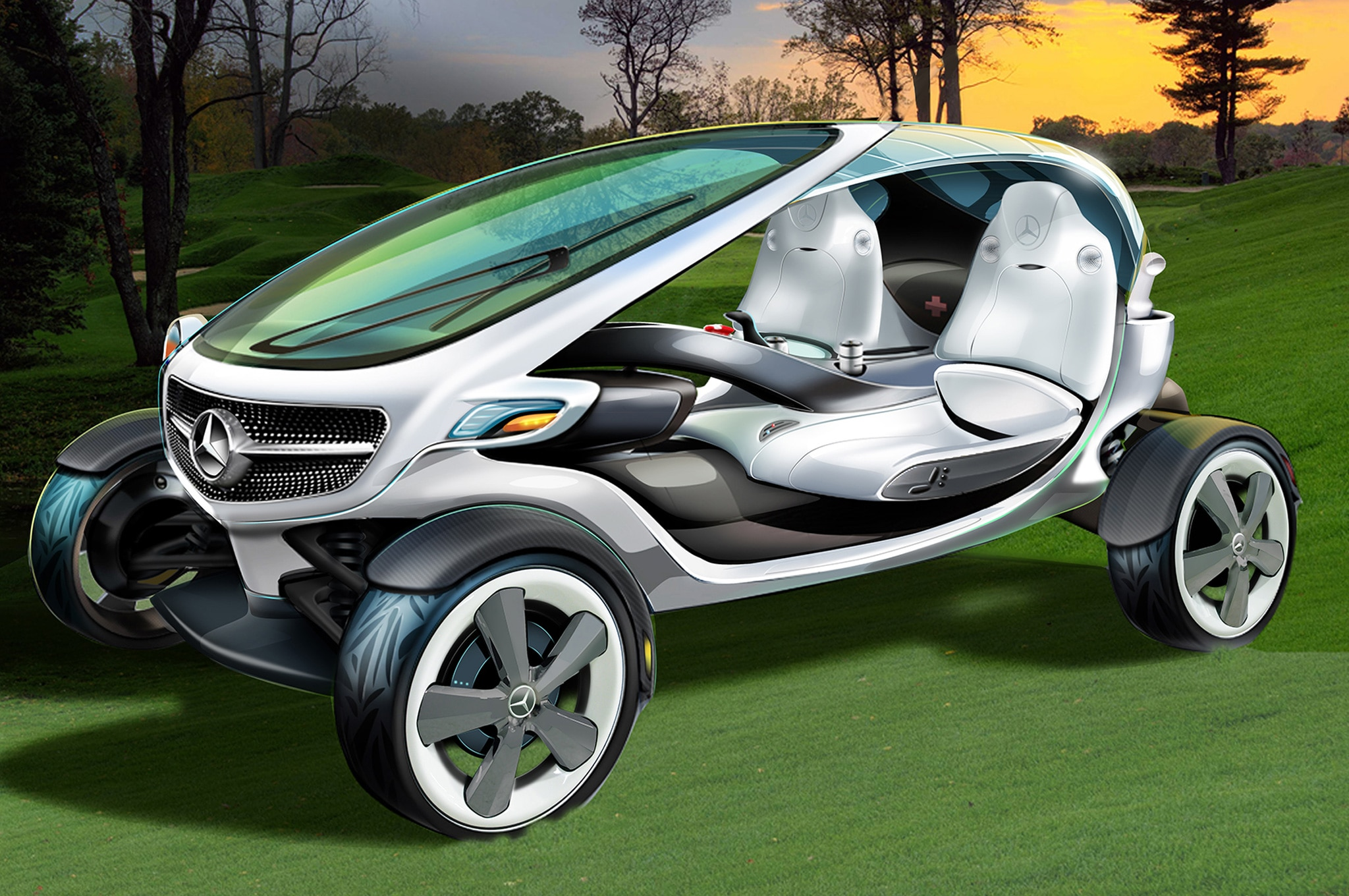 Mercedes Benz Vision Golf Cart Concept Front View On Course1