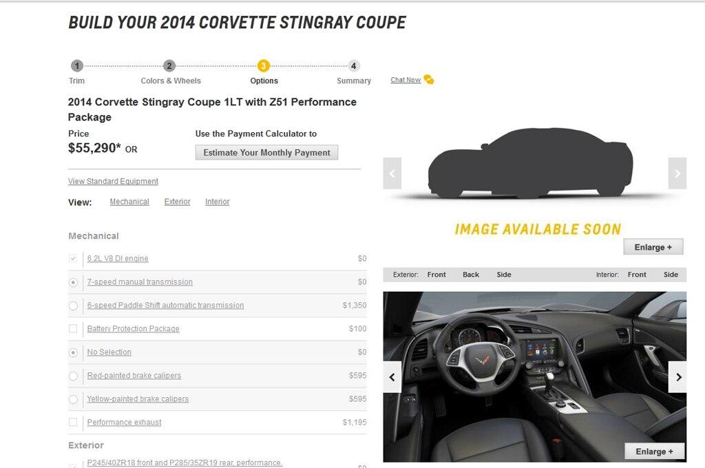 2014 Chevrolet Corvette Stingray Configurator Screen Cap1