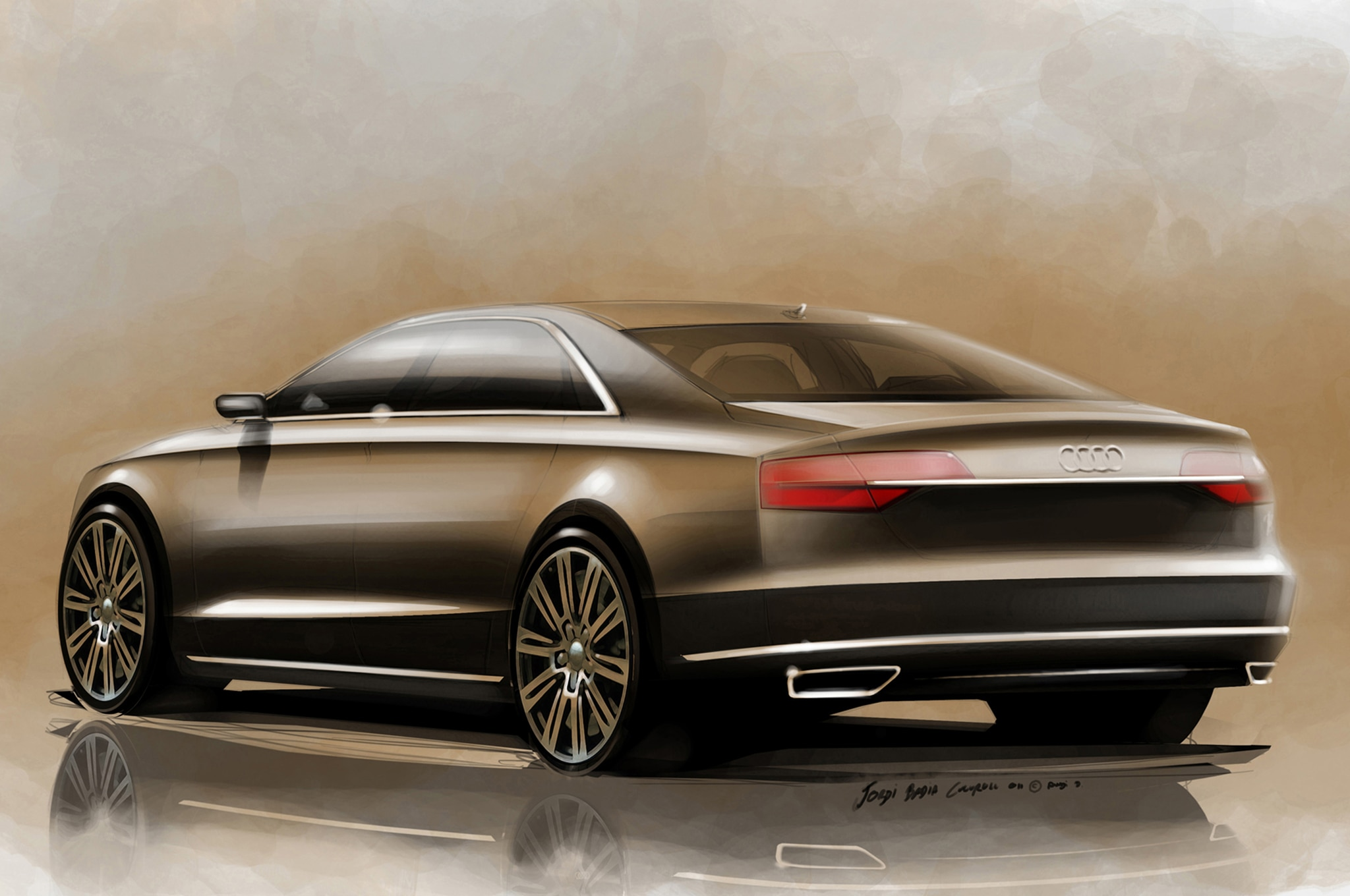 2015 Audi A8 Left Rear Angle Sketch Color1
