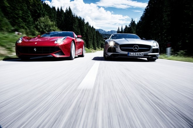 2014 Ferrari F12 Berlinetta Vs 2014 Mercedes Benz SLS AMG Black Series Front View1 660x438
