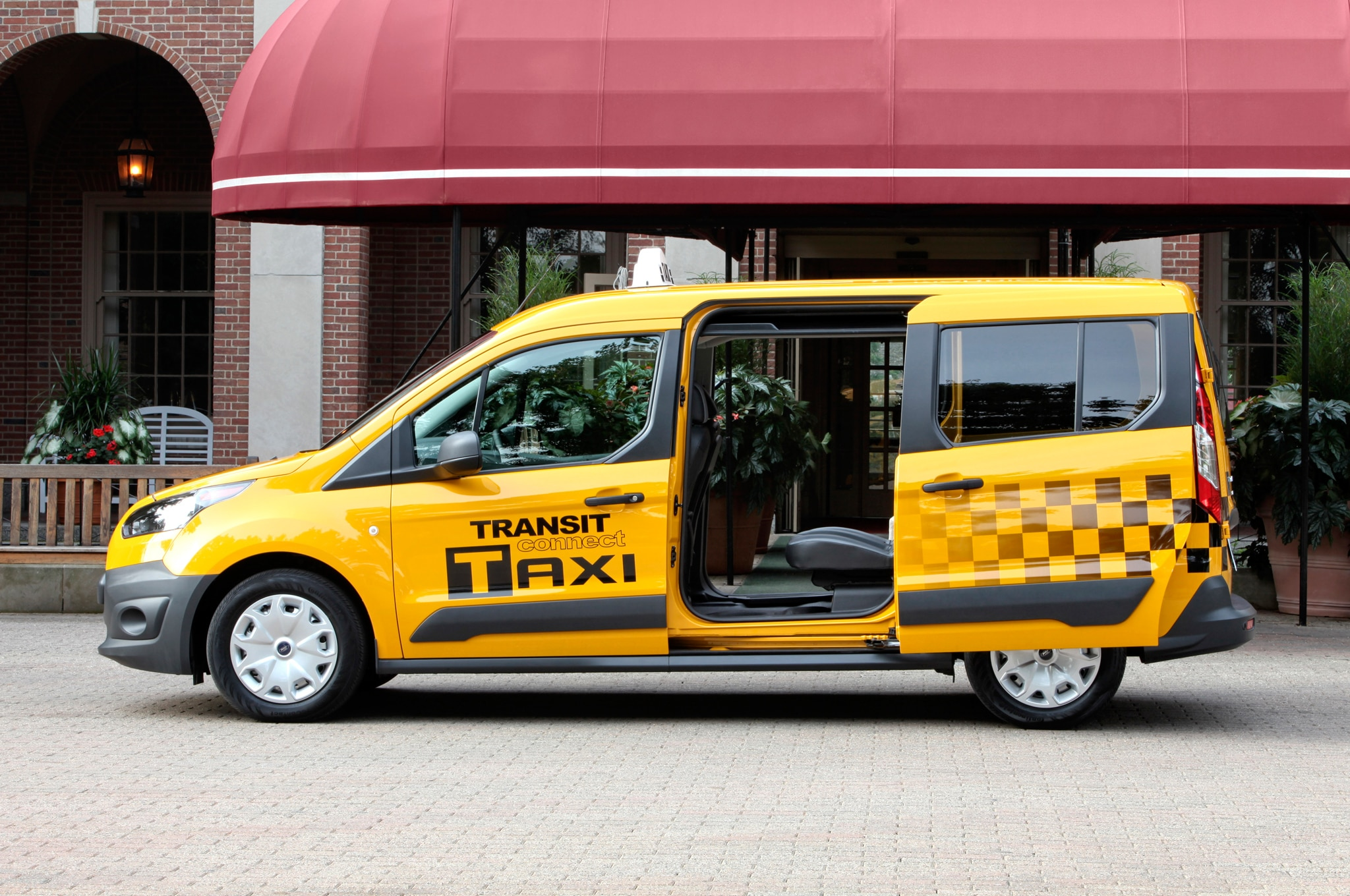 2014 Ford Transit Connect Taxi Profile Doors Open1