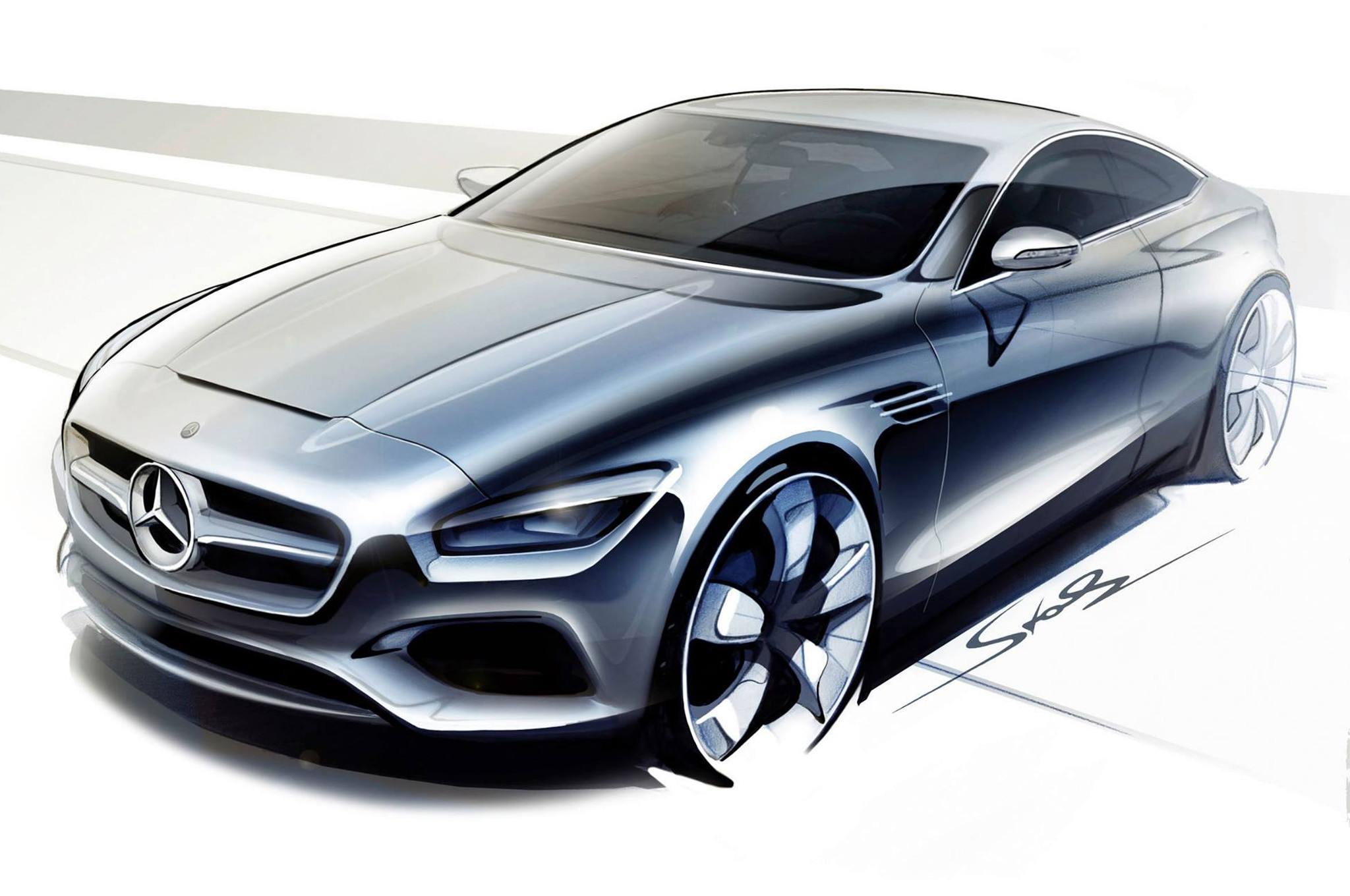 Mercedes Benz S Class Coupe Concept Rendering1