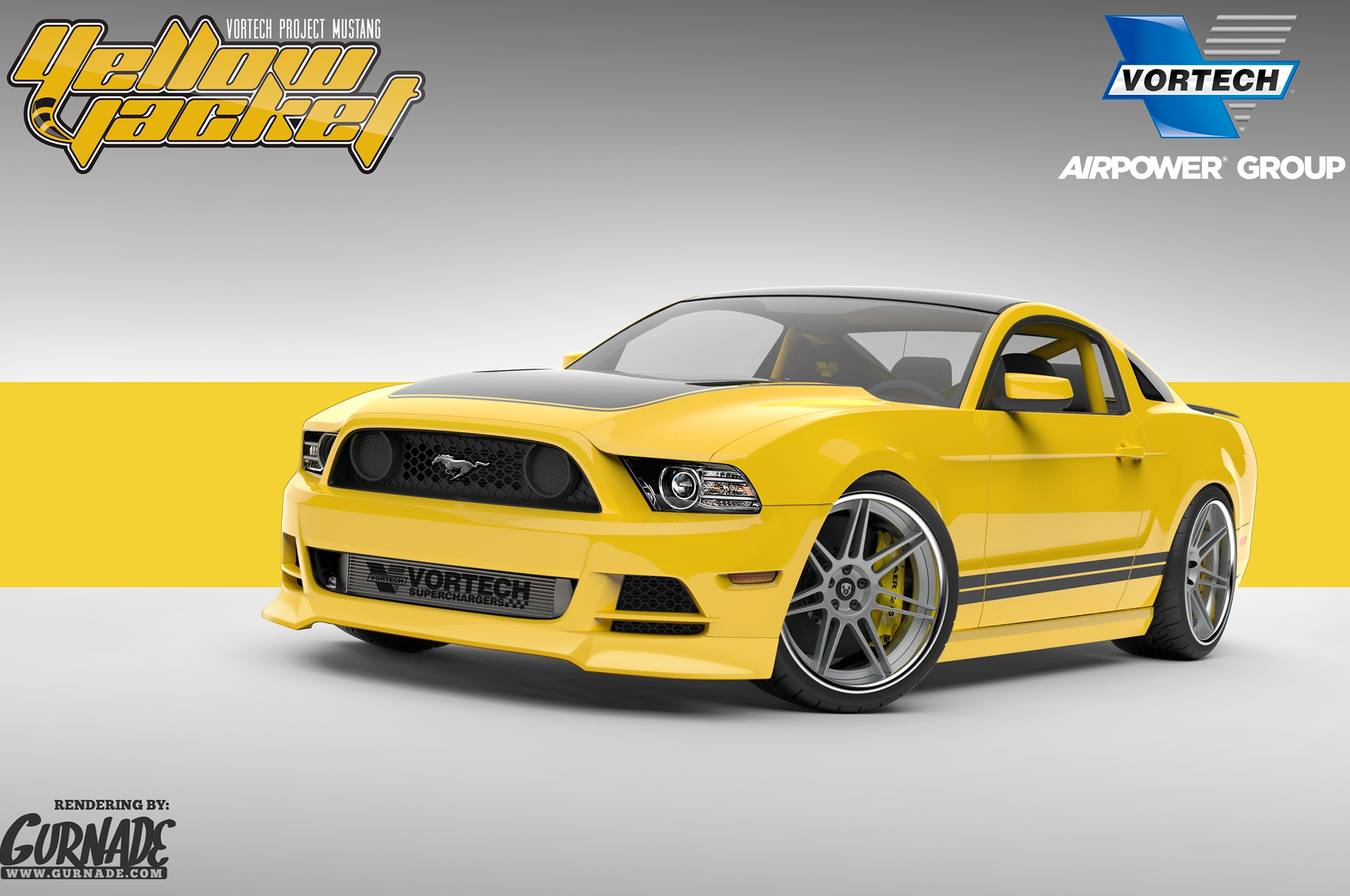 2014 ford mustang gt adds supercharger yellow paint for sema. Black Bedroom Furniture Sets. Home Design Ideas