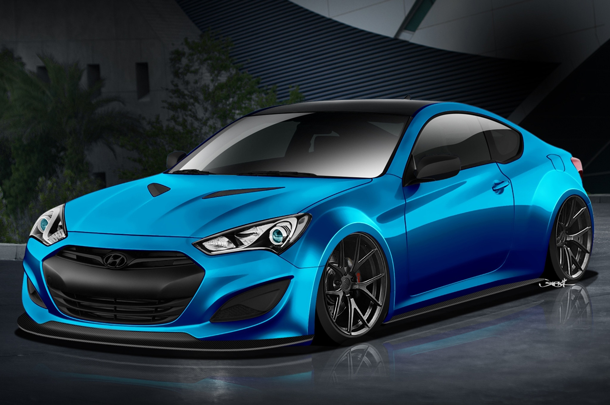 Hyundai Genesis Coupe JP Edition SEMA Front Three Quarter Rendering1