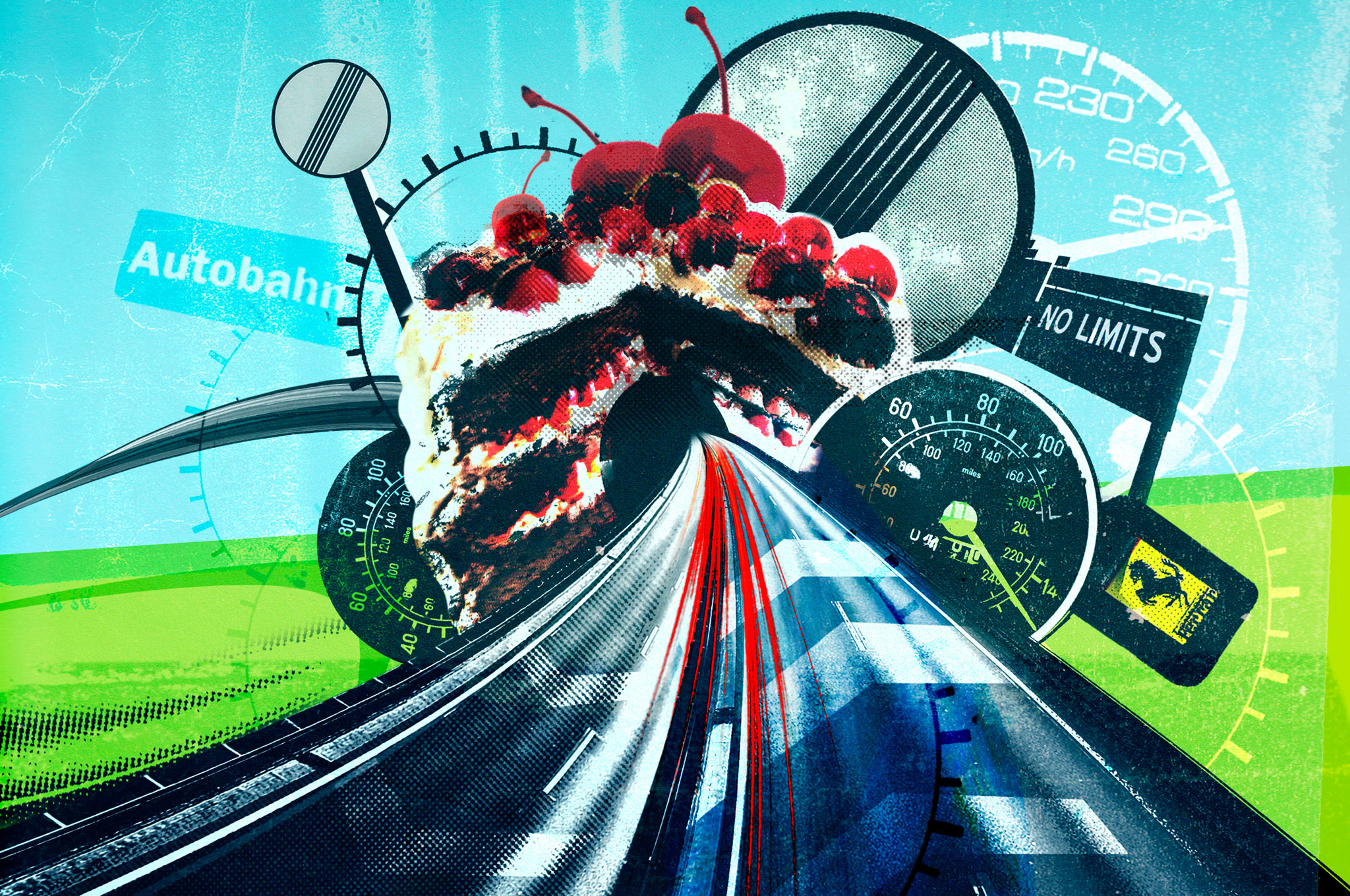 Cake And Road Illustration Cropped