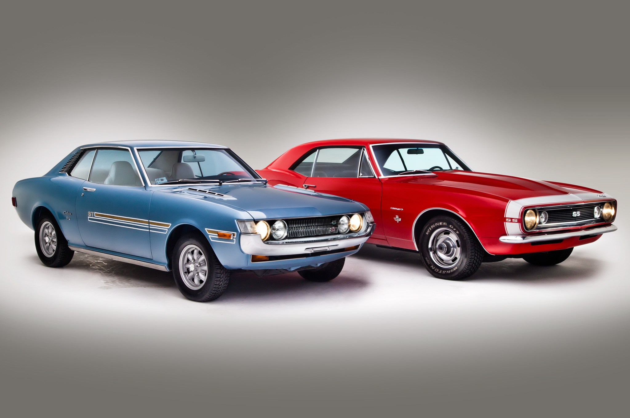 1971 Toyota Celica ST And 1967 Chevrolet Camaro SS Front Three Quarters View1