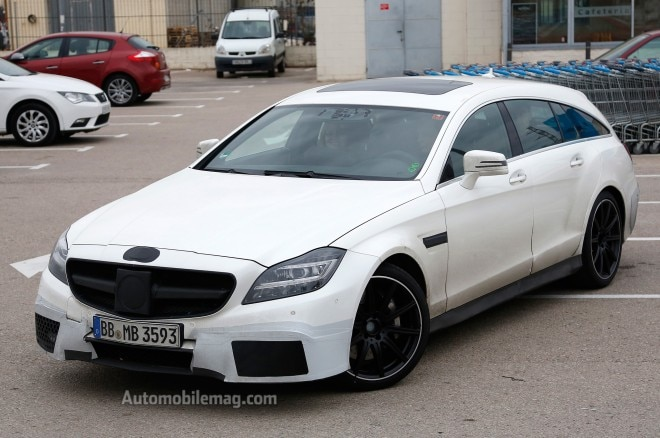2015 Mercedes Benz CLS63 AMG Shooting Brake Spy Shot Front Three Quarters View 21 660x438