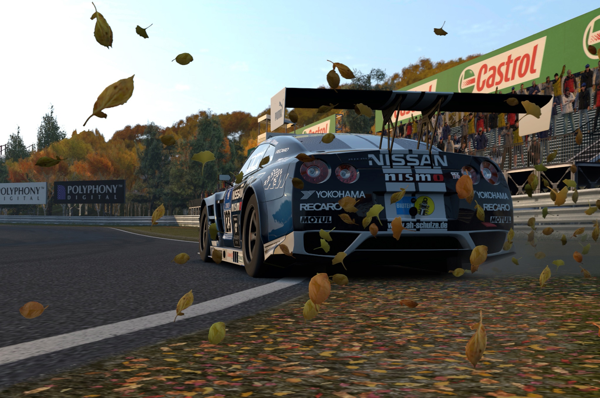 Gran Turismo 6 Screen Shot Nissan GT R Race Car In Leaves