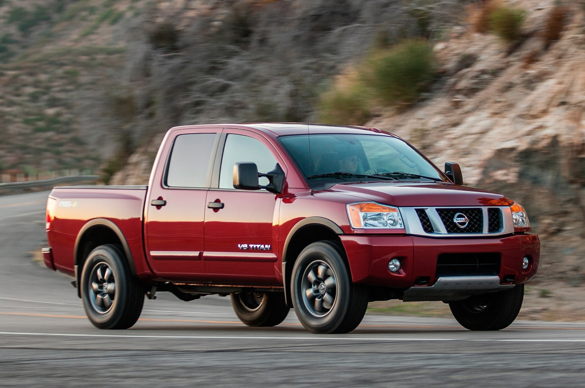 2013 Nissan Titan Three Quarters In Motion View