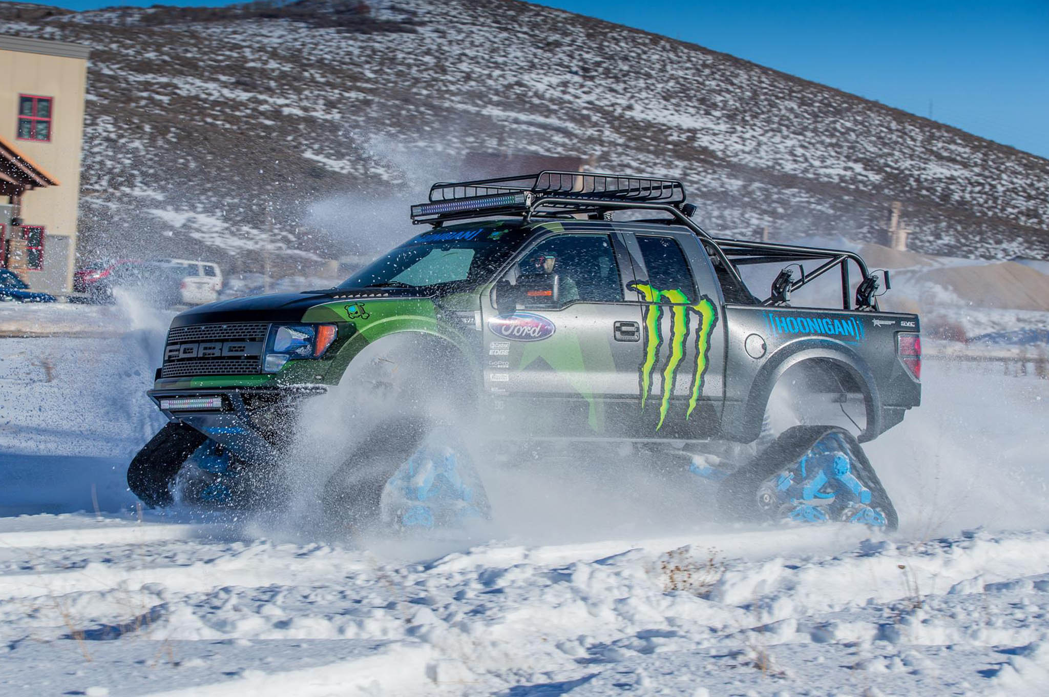 Ford f 150 svt raptor gains snowmobile tracks thanks to ken block this monstrosity voltagebd Choice Image