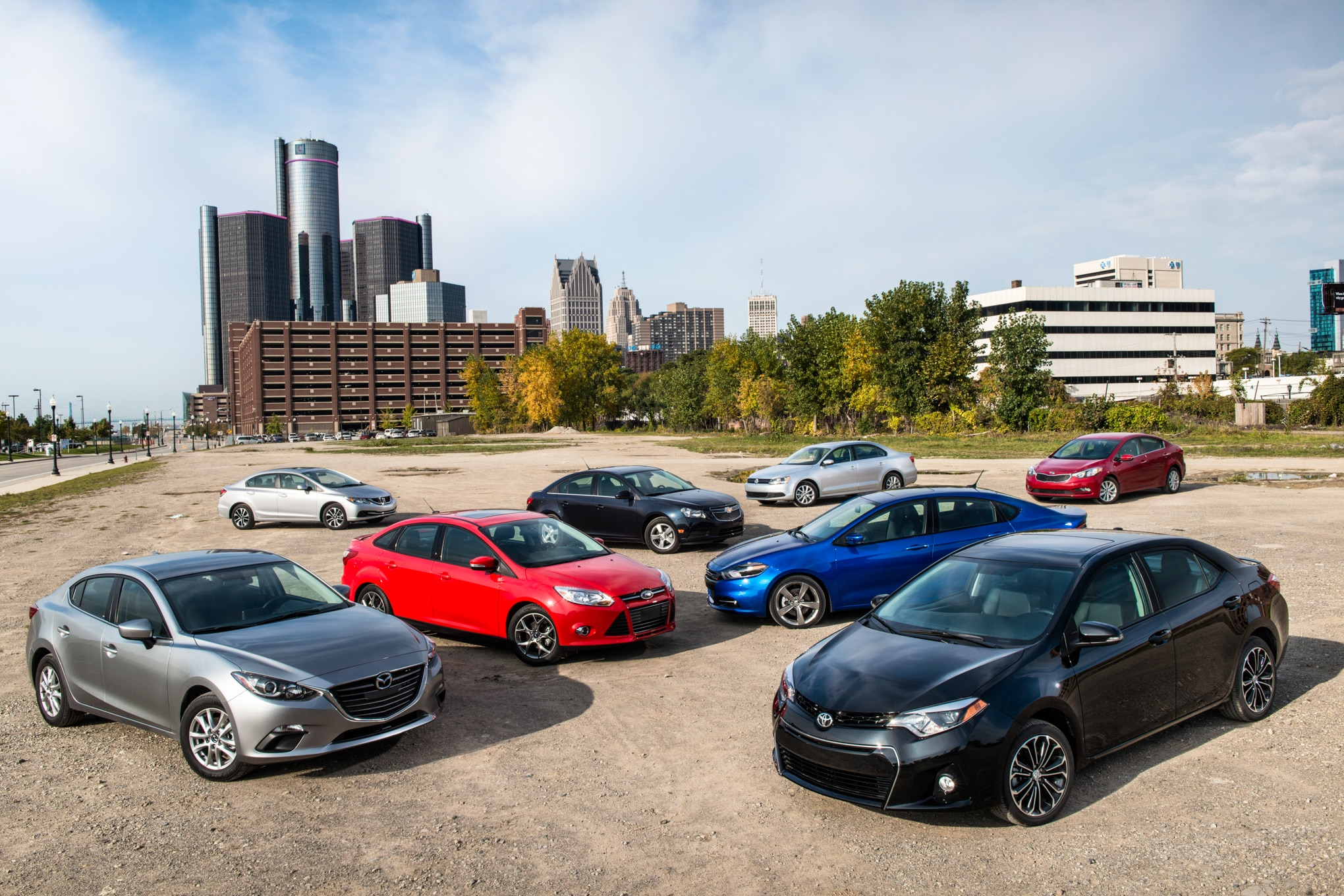 2014 Automobile Magazine Compact Sedan Comparison Day One 8 Car Group Image 1